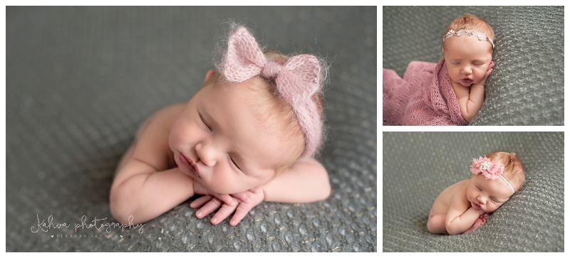 newborn girl pink and grey